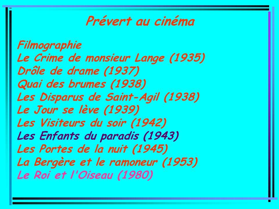 Prévert au cinéma Filmographie