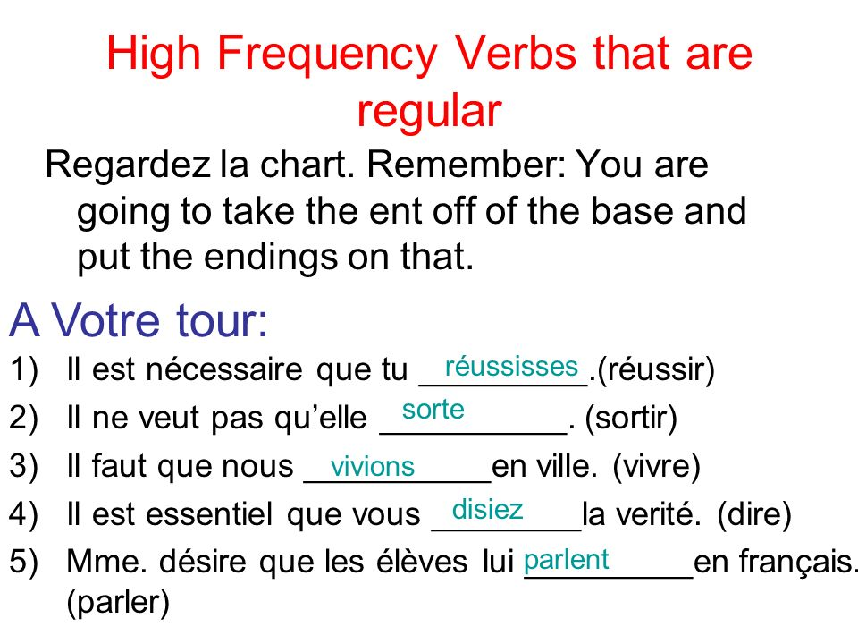 High Frequency Verbs that are regular