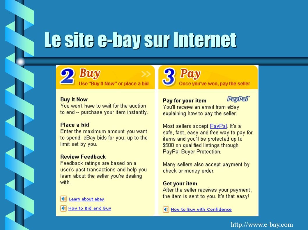Le site e-bay sur Internet