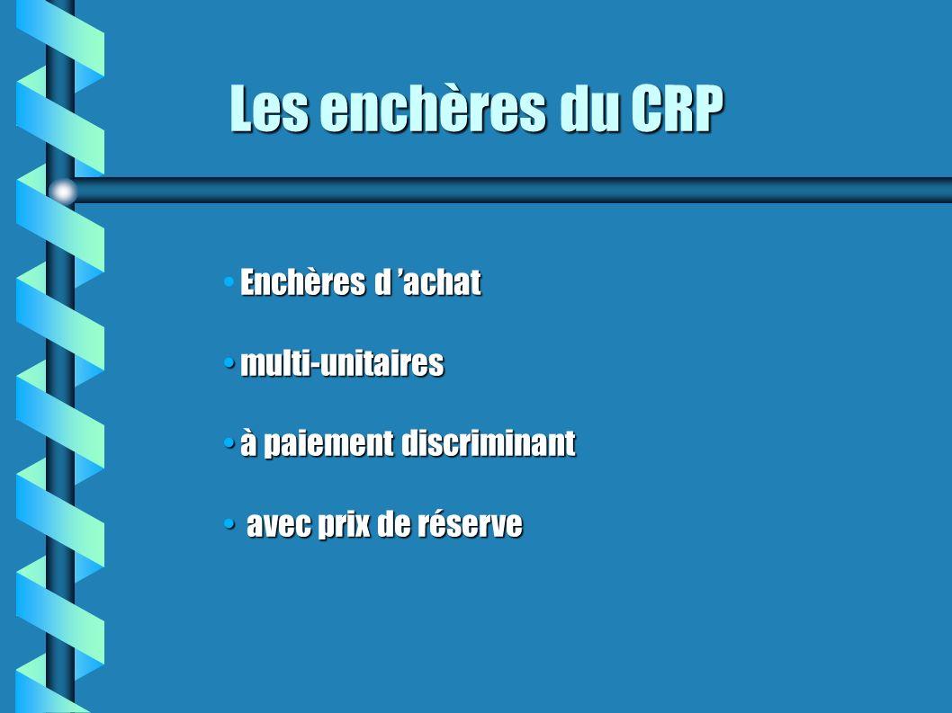 Les enchères du CRP Enchères d 'achat multi-unitaires