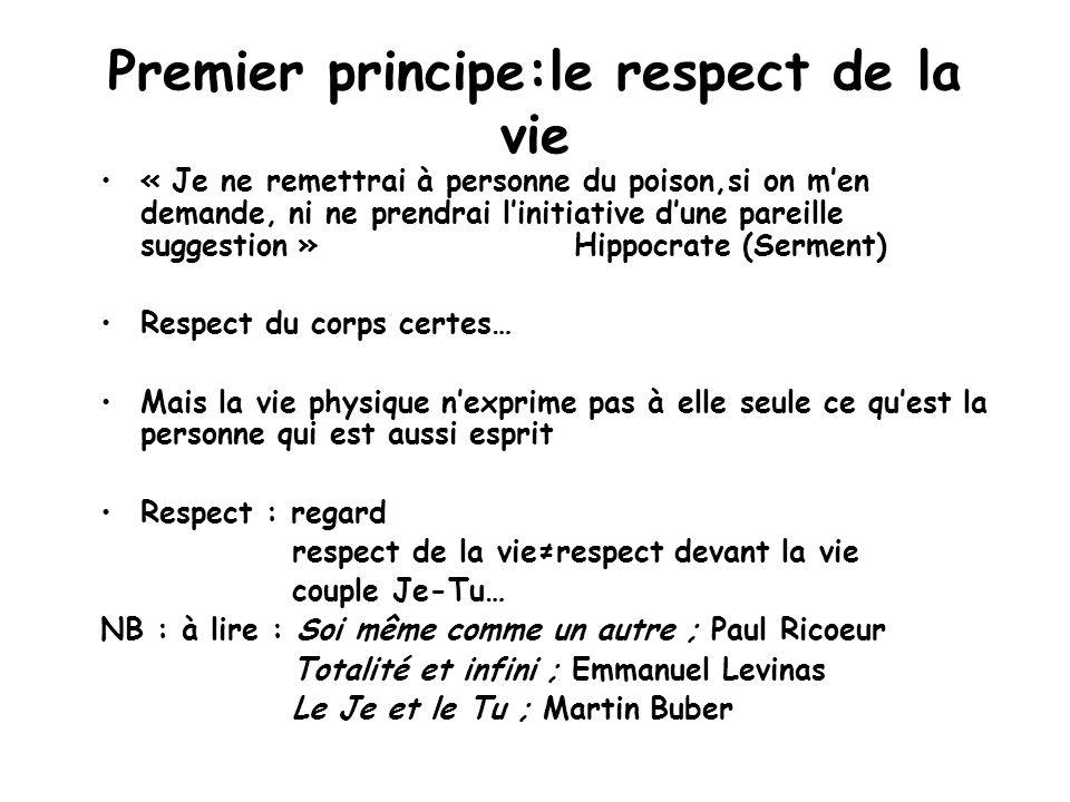 Premier principe:le respect de la vie