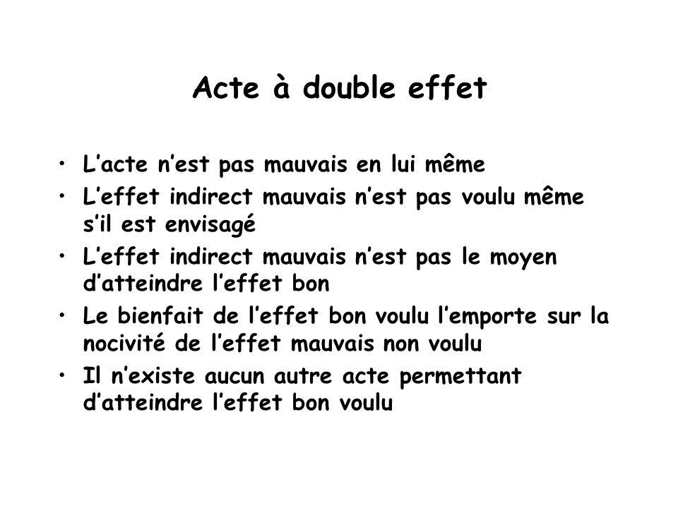 Acte à double effet L'acte n'est pas mauvais en lui même