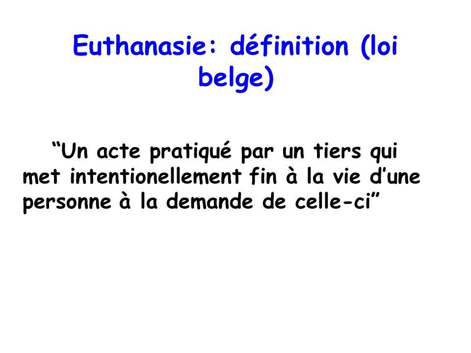 Euthanasie: définition (loi belge)