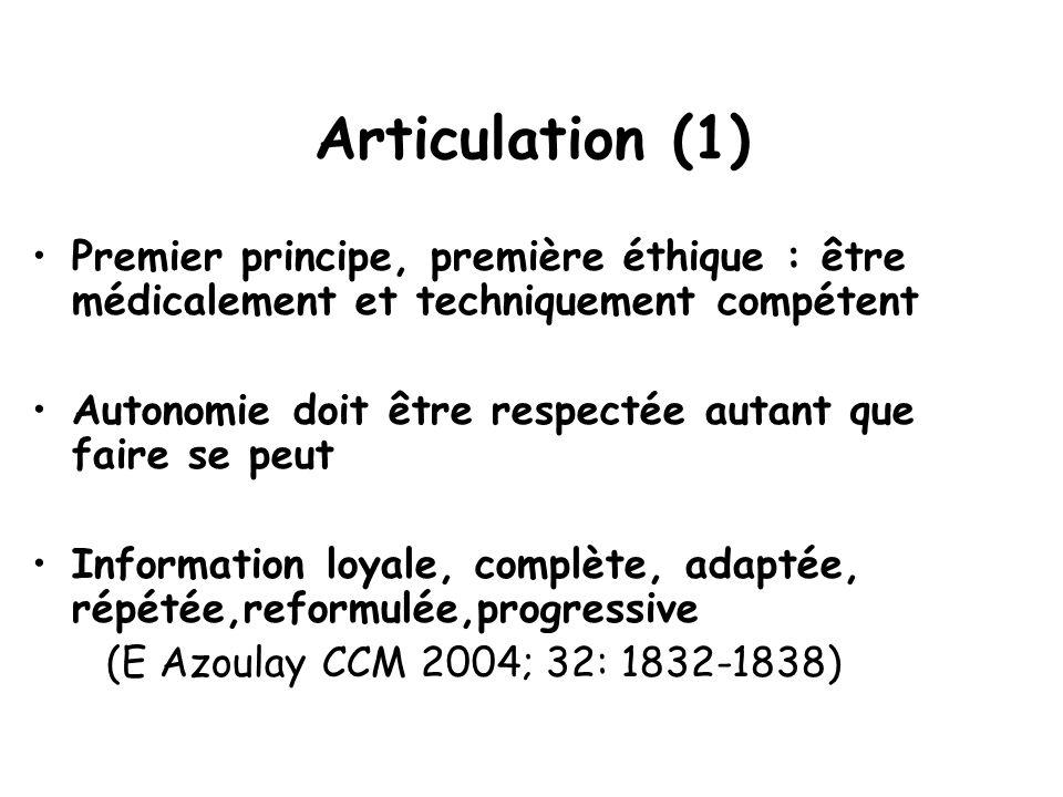Articulation (1) Premier principe, première éthique : être médicalement et techniquement compétent.
