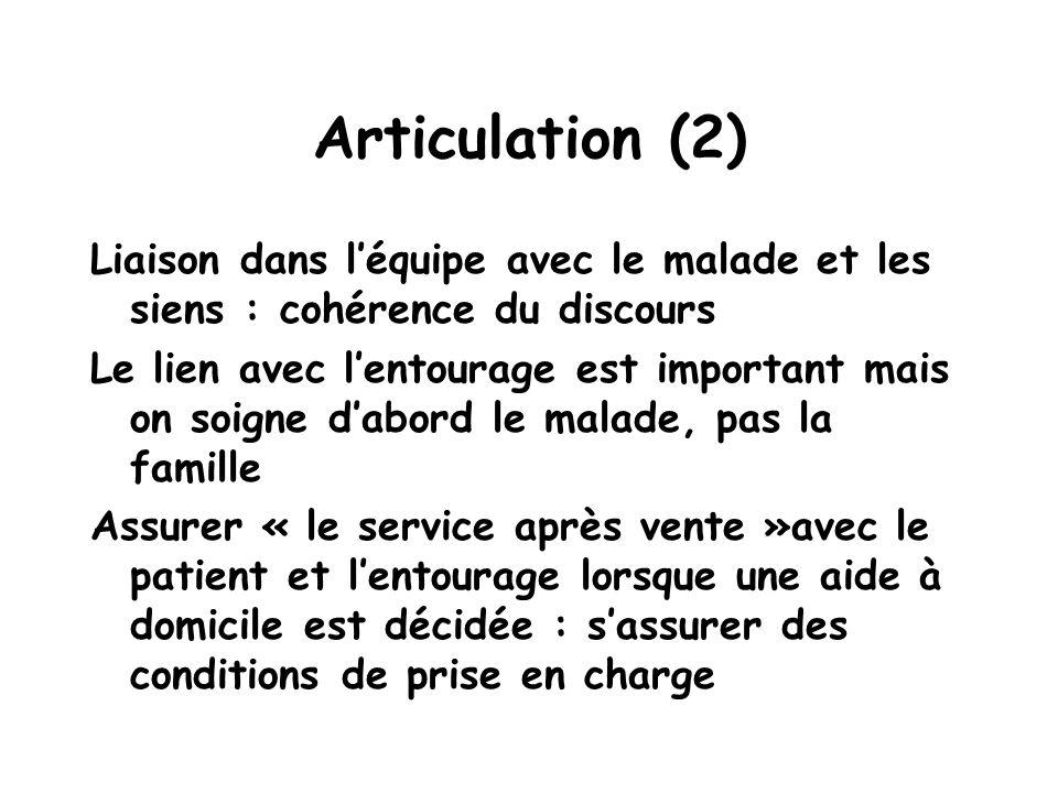 Articulation (2) Liaison dans l'équipe avec le malade et les siens : cohérence du discours.