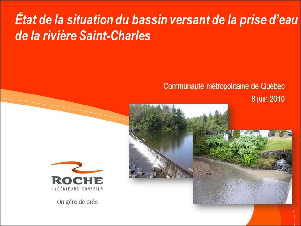 État de la situation du bassin versant de la prise d'eau de la rivière Saint-Charles