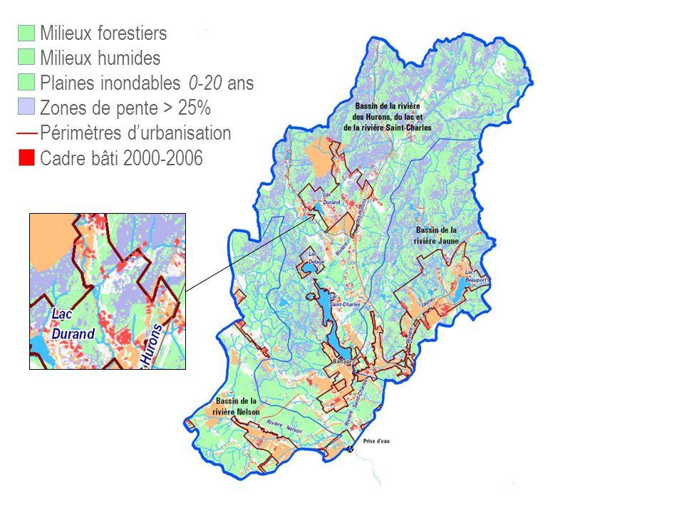 Plaines inondables 0-20 ans Zones de pente > 25%