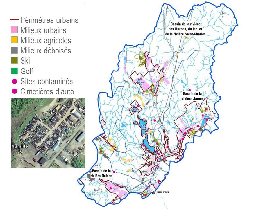 Périmètres urbains Milieux urbains Milieux agricoles Milieux déboisés