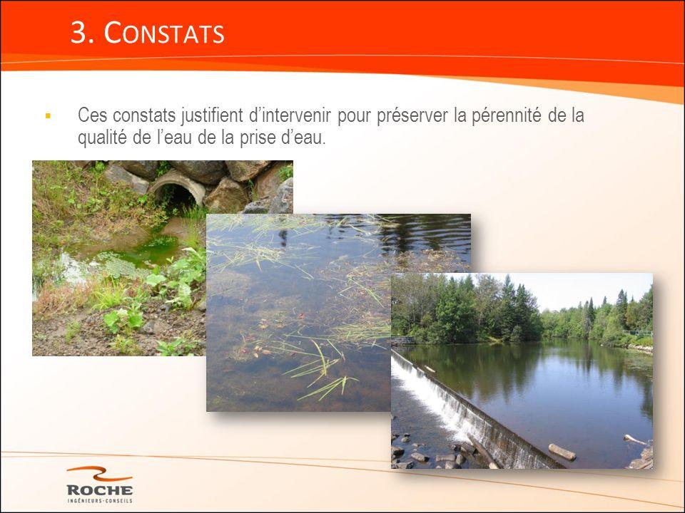 3. Constats Ces constats justifient d'intervenir pour préserver la pérennité de la qualité de l'eau de la prise d'eau.