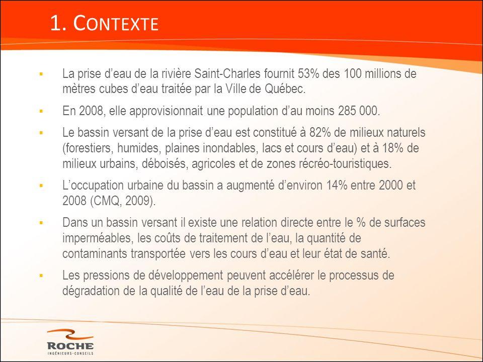 1. Contexte La prise d'eau de la rivière Saint-Charles fournit 53% des 100 millions de mètres cubes d'eau traitée par la Ville de Québec.