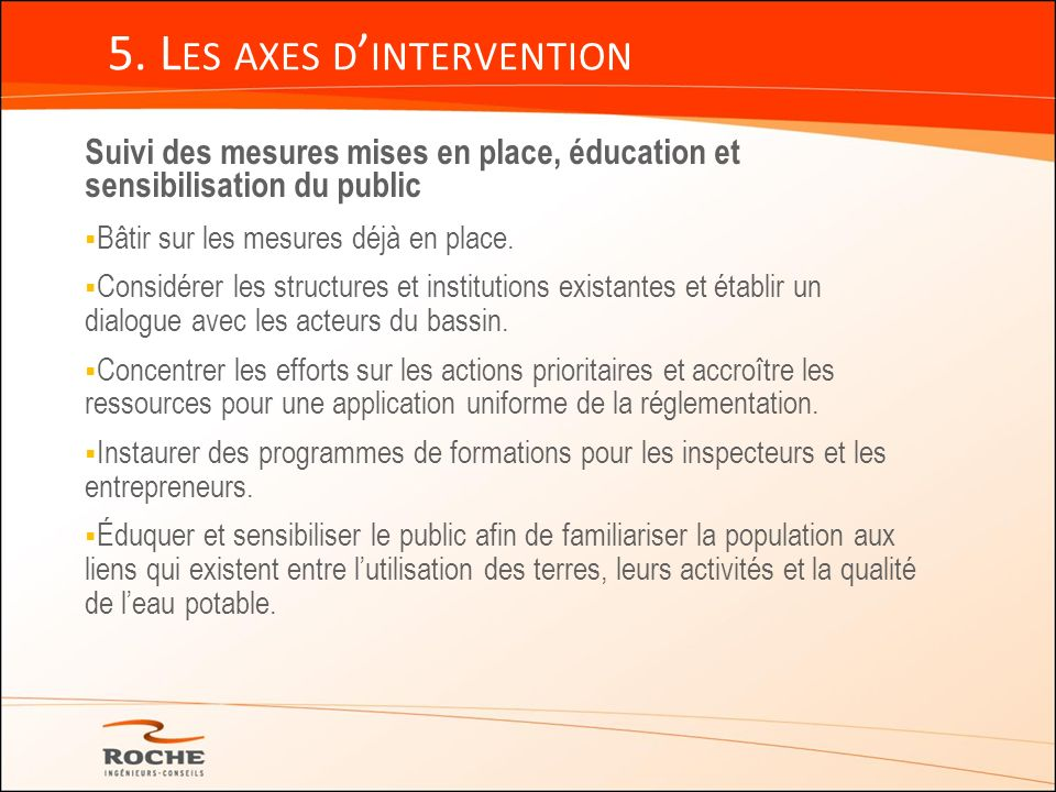5. Les axes d'intervention