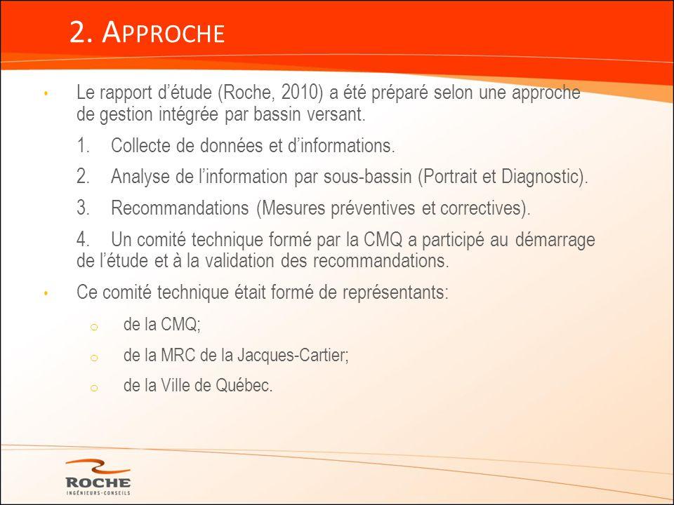 2. Approche Le rapport d'étude (Roche, 2010) a été préparé selon une approche de gestion intégrée par bassin versant.