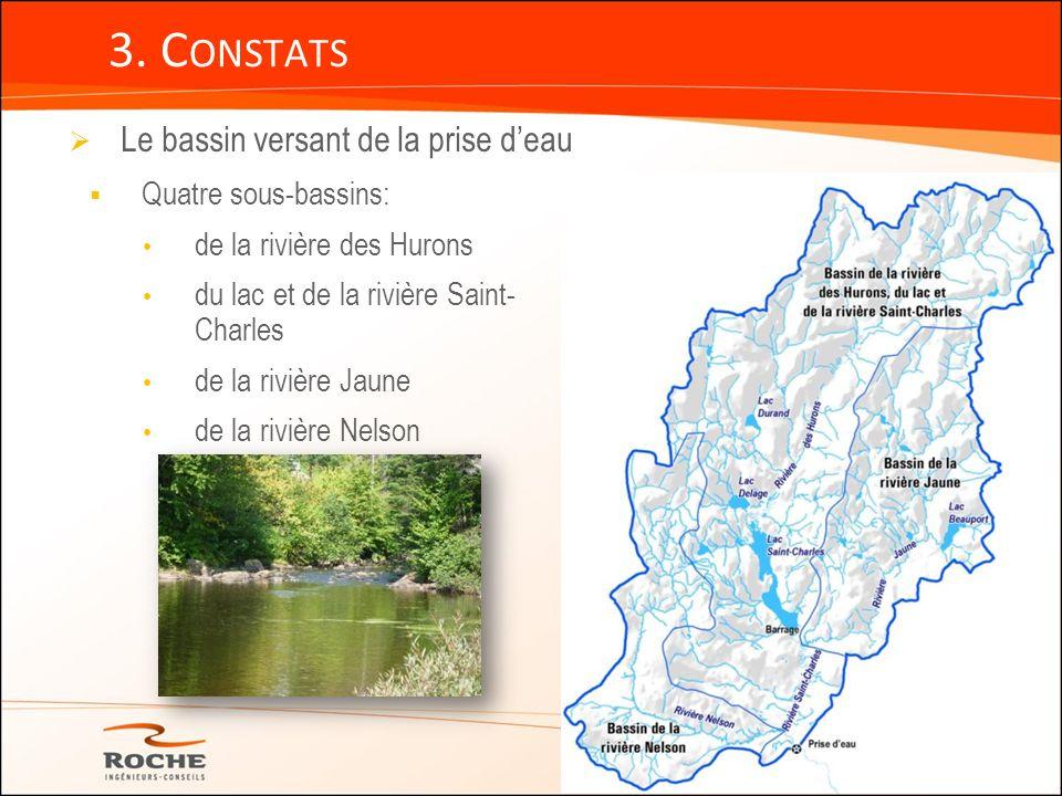3. Constats Le bassin versant de la prise d'eau Quatre sous-bassins: