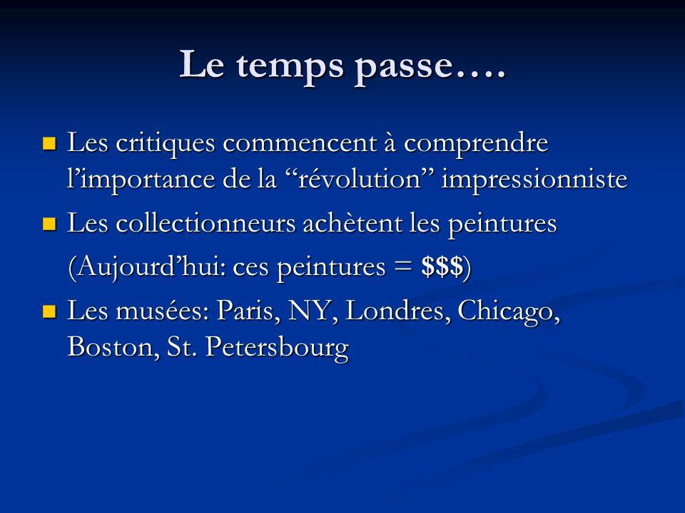 Le temps passe…. Les critiques commencent à comprendre l'importance de la révolution impressionniste.