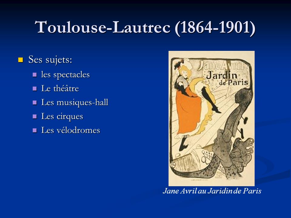 Jane Avril au Jaridin de Paris