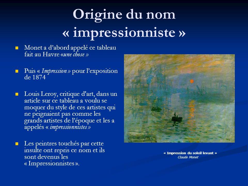 Origine du nom « impressionniste »