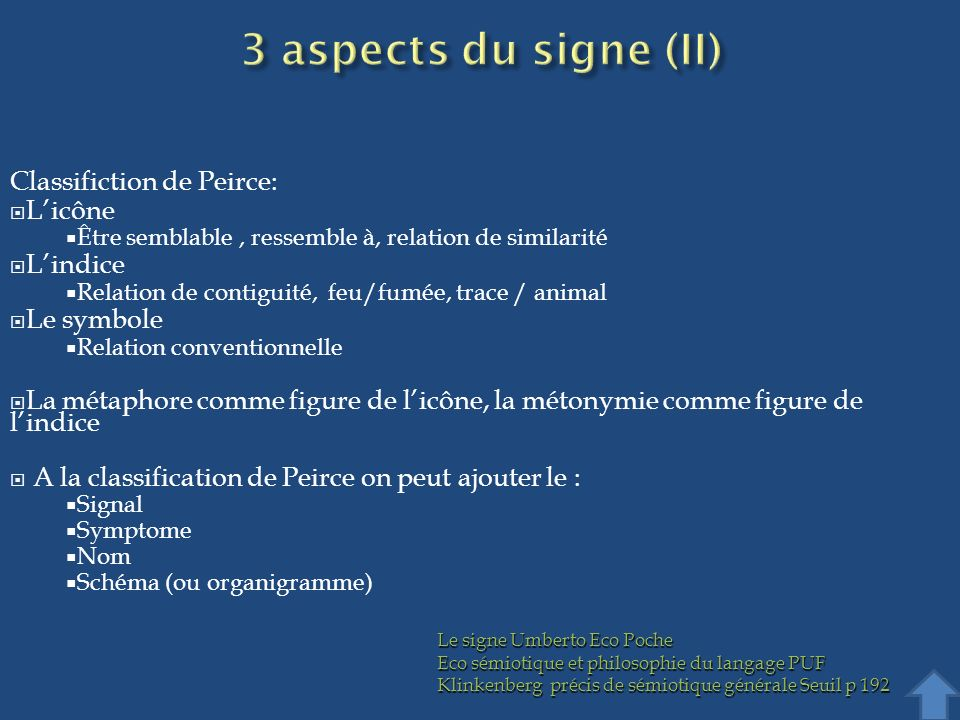 3 aspects du signe (II) Classifiction de Peirce: L'icône L'indice