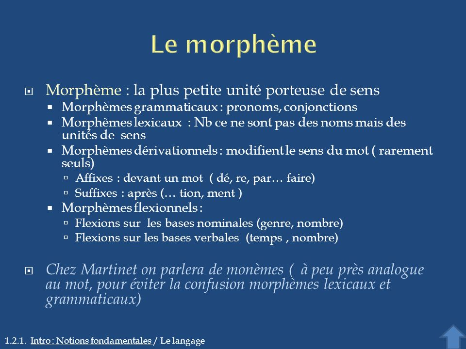 Le morphème Morphème : la plus petite unité porteuse de sens