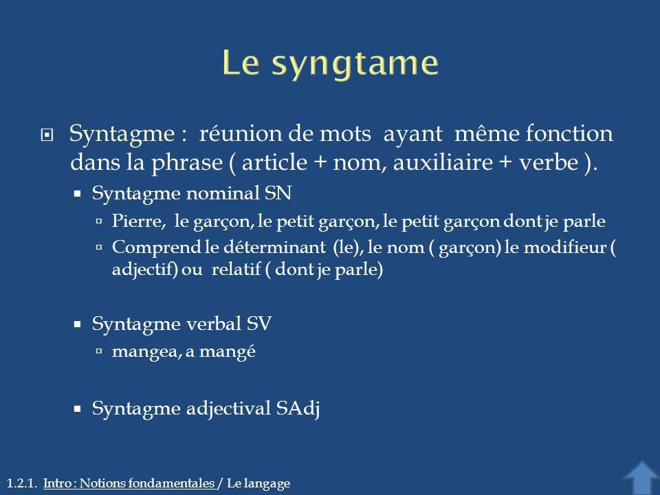Le syngtame Syntagme : réunion de mots ayant même fonction dans la phrase ( article + nom, auxiliaire + verbe ).