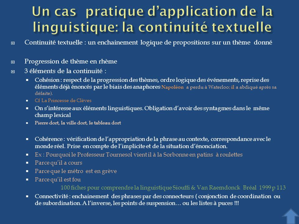 Un cas pratique d'application de la linguistique: la continuité textuelle