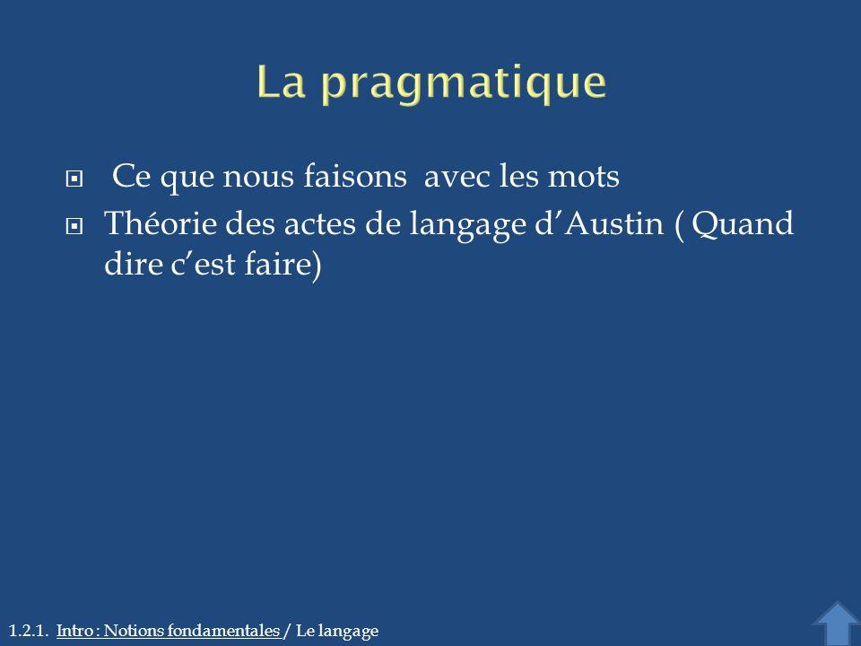 La pragmatique Ce que nous faisons avec les mots