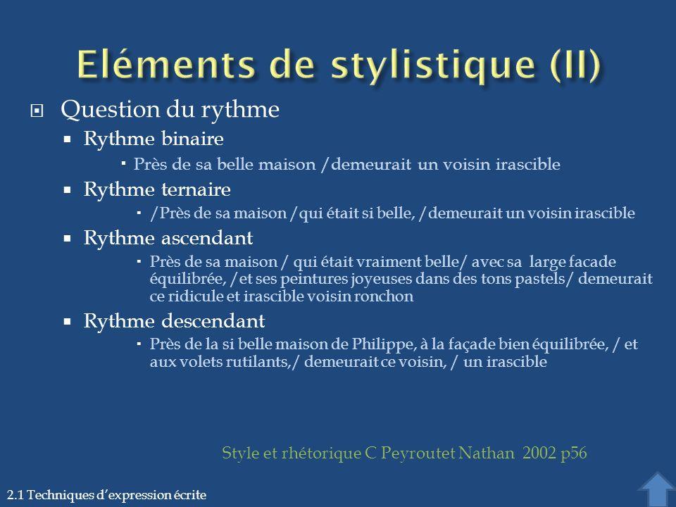 Eléments de stylistique (II)