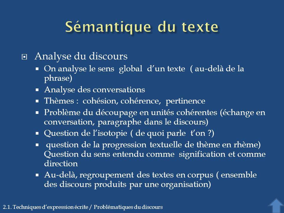 Sémantique du texte Analyse du discours