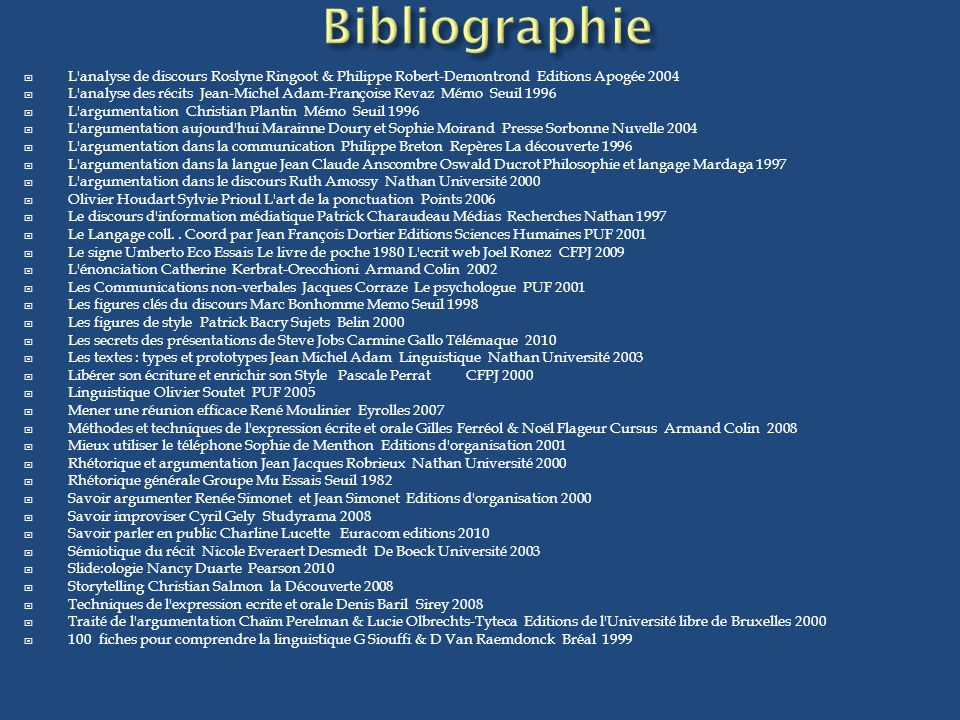 Bibliographie L analyse de discours Roslyne Ringoot & Philippe Robert-Demontrond Editions Apogée 2004.