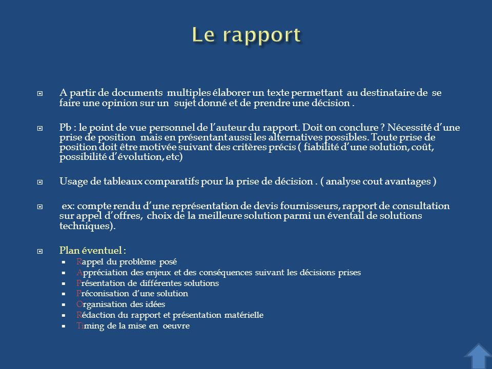 Le rapport