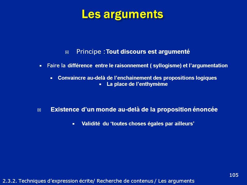 Les arguments Principe :Tout discours est argumenté
