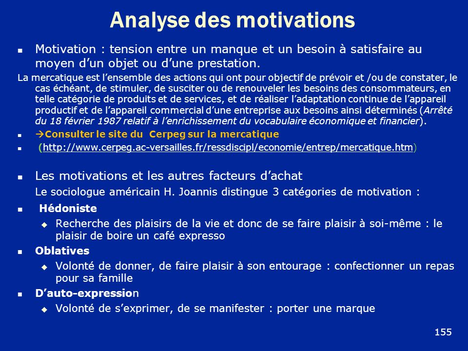 Analyse des motivations