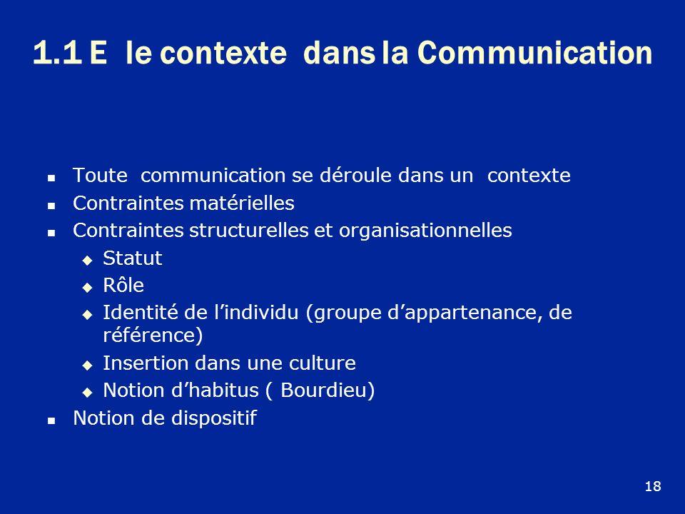 1.1 E le contexte dans la Communication