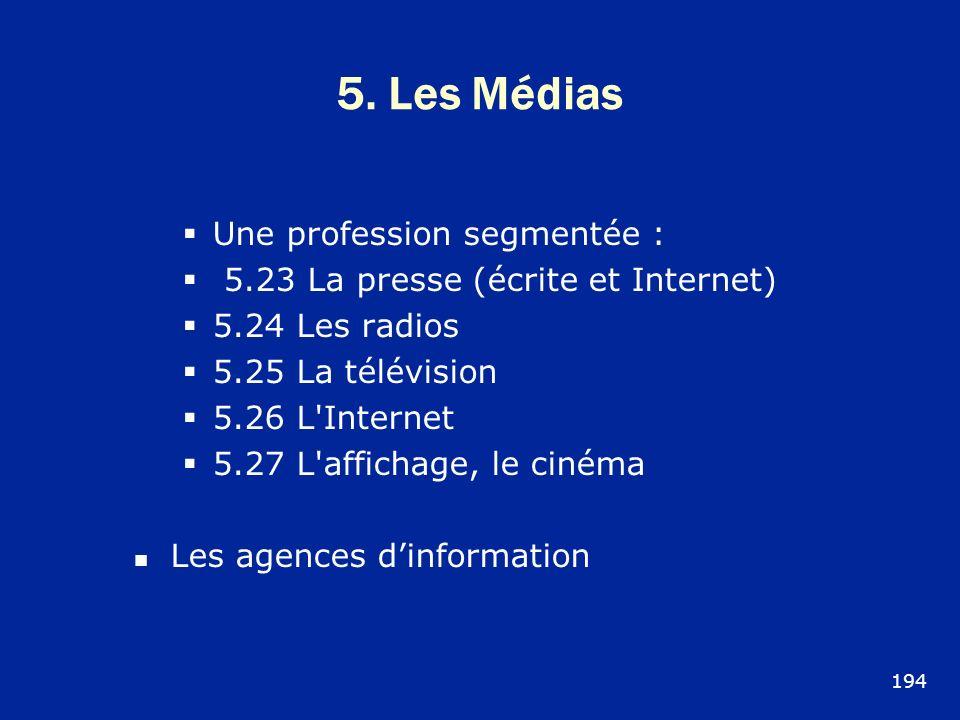 5. Les Médias Une profession segmentée :