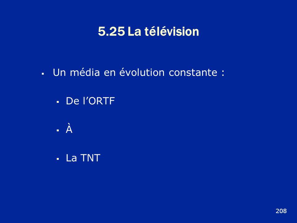 5.25 La télévision Un média en évolution constante : De l'ORTF À
