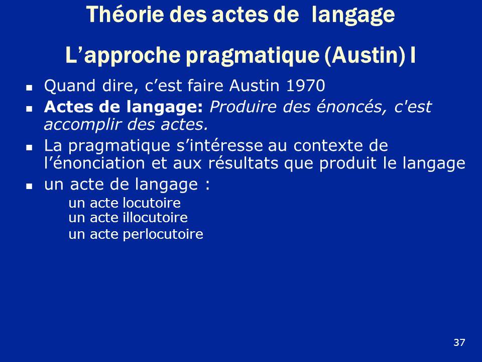 Théorie des actes de langage L'approche pragmatique (Austin) I
