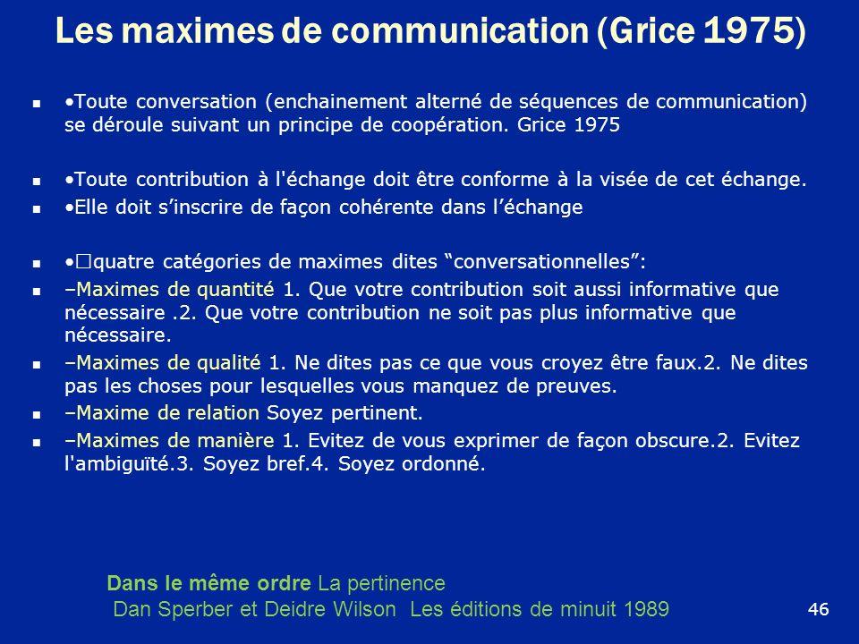 Les maximes de communication (Grice 1975)