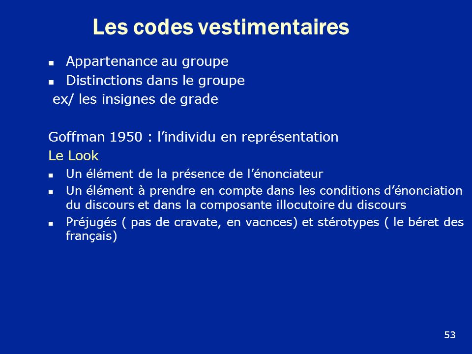 Les codes vestimentaires