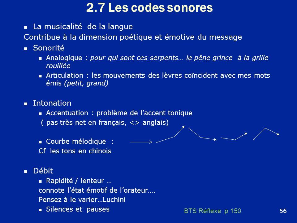 2.7 Les codes sonores La musicalité de la langue