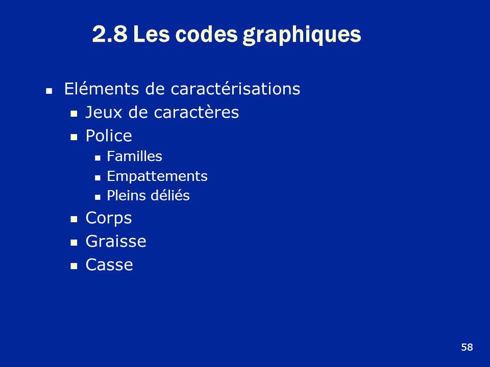 2.8 Les codes graphiques Eléments de caractérisations