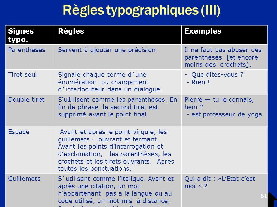 Règles typographiques (III)