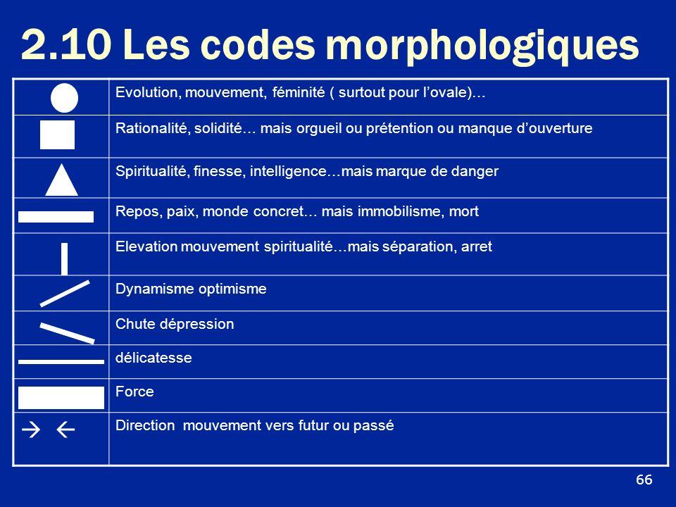 2.10 Les codes morphologiques