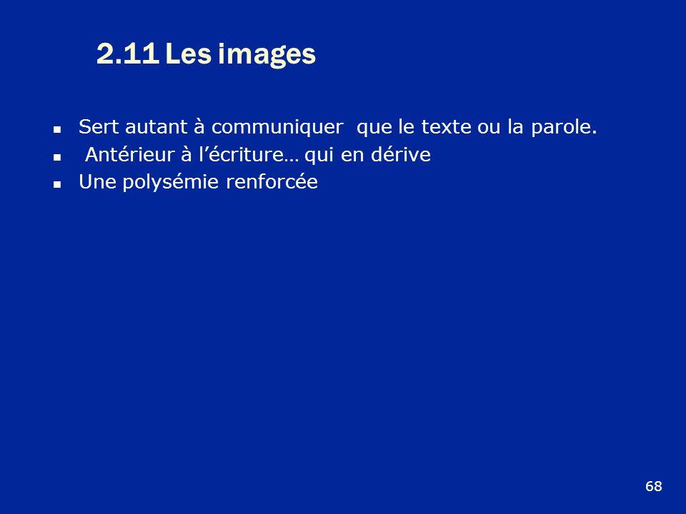 2.11 Les images Sert autant à communiquer que le texte ou la parole.