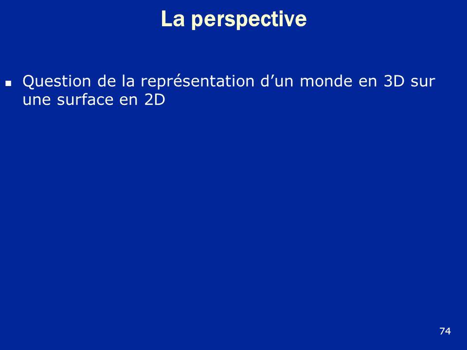 La perspective Question de la représentation d'un monde en 3D sur une surface en 2D