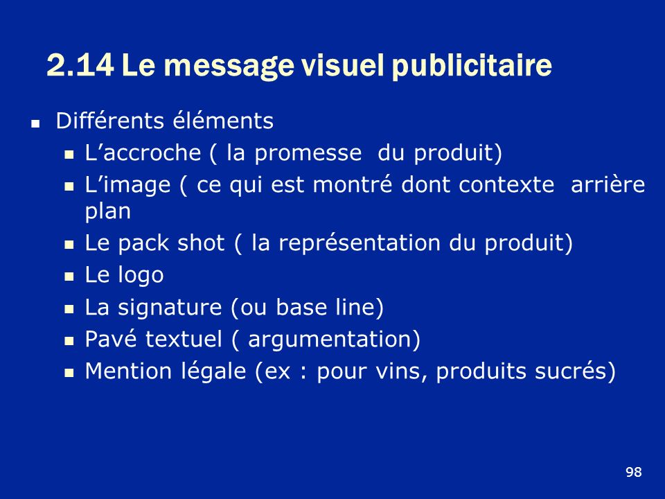2.14 Le message visuel publicitaire