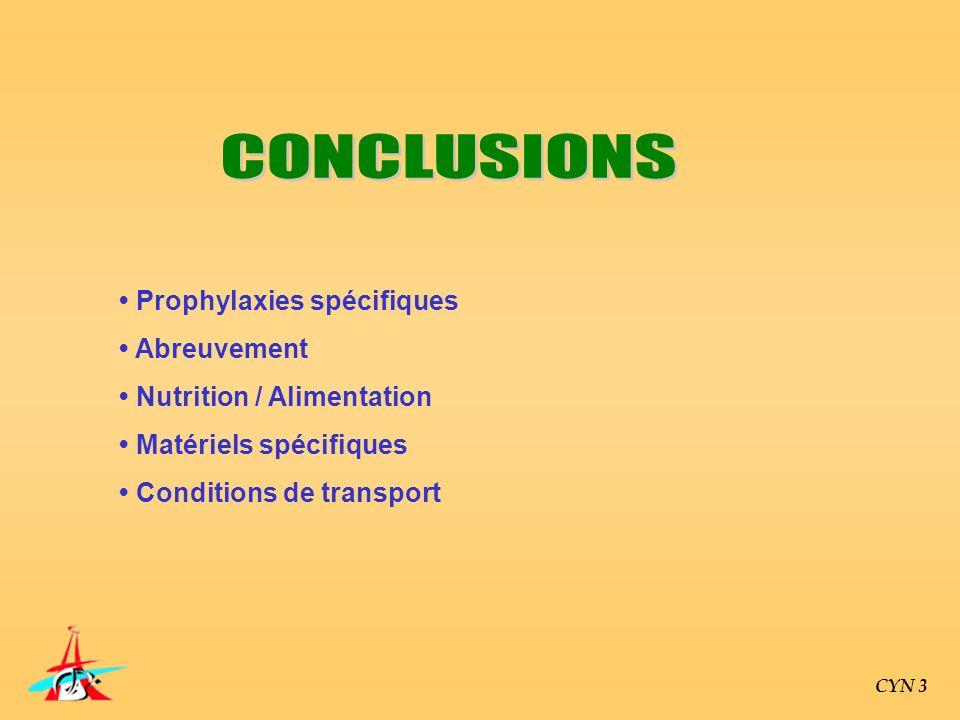 CONCLUSIONS • Prophylaxies spécifiques • Abreuvement
