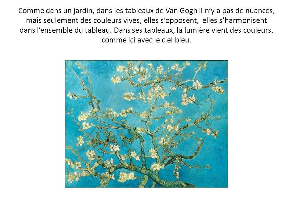 Comme dans un jardin, dans les tableaux de Van Gogh il n'y a pas de nuances, mais seulement des couleurs vives, elles s'opposent, elles s'harmonisent dans l'ensemble du tableau.