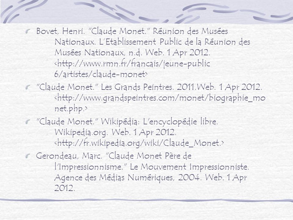 Bovet, Henri. Claude Monet. Réunion des Musées. Nationaux