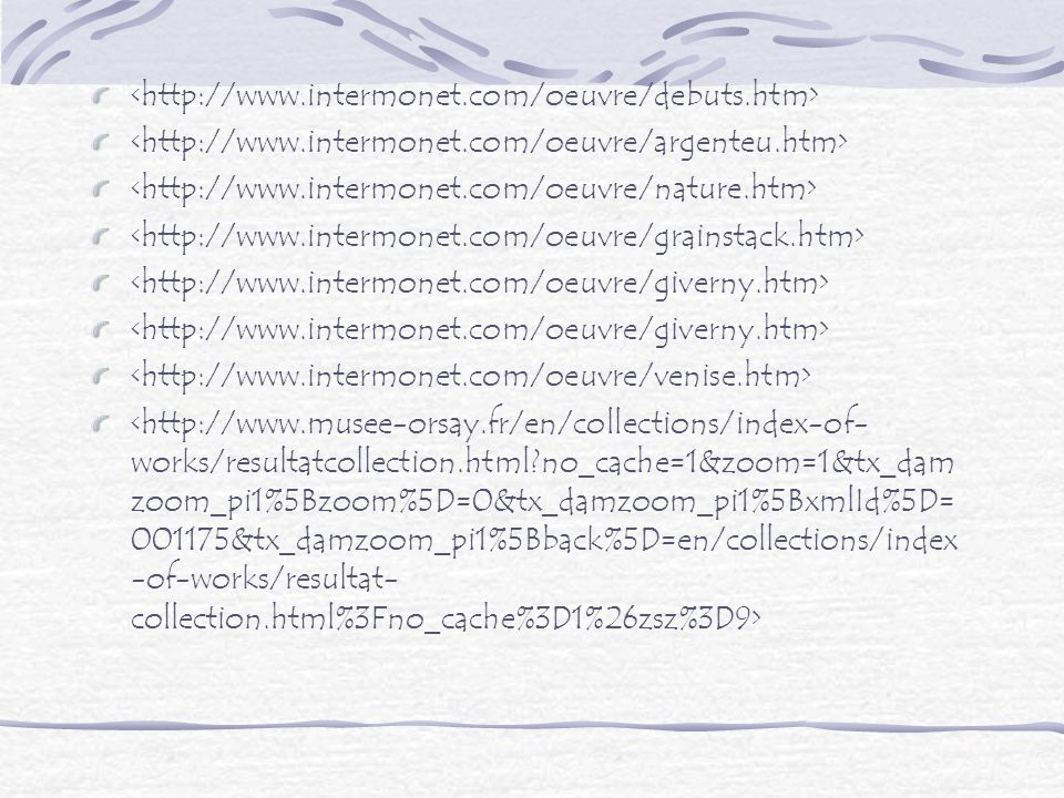 <http://www.intermonet.com/oeuvre/debuts.htm> <http://www.intermonet.com/oeuvre/argenteu.htm> <http://www.intermonet.com/oeuvre/nature.htm>