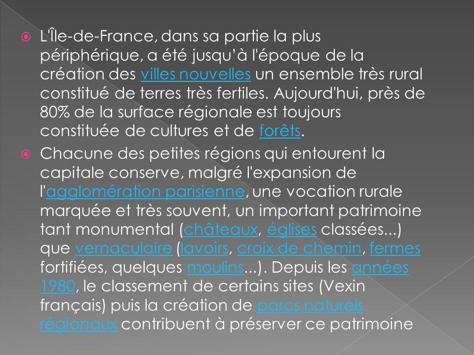 L Île-de-France, dans sa partie la plus périphérique, a été jusqu'à l époque de la création des villes nouvelles un ensemble très rural constitué de terres très fertiles. Aujourd hui, près de 80% de la surface régionale est toujours constituée de cultures et de forêts.