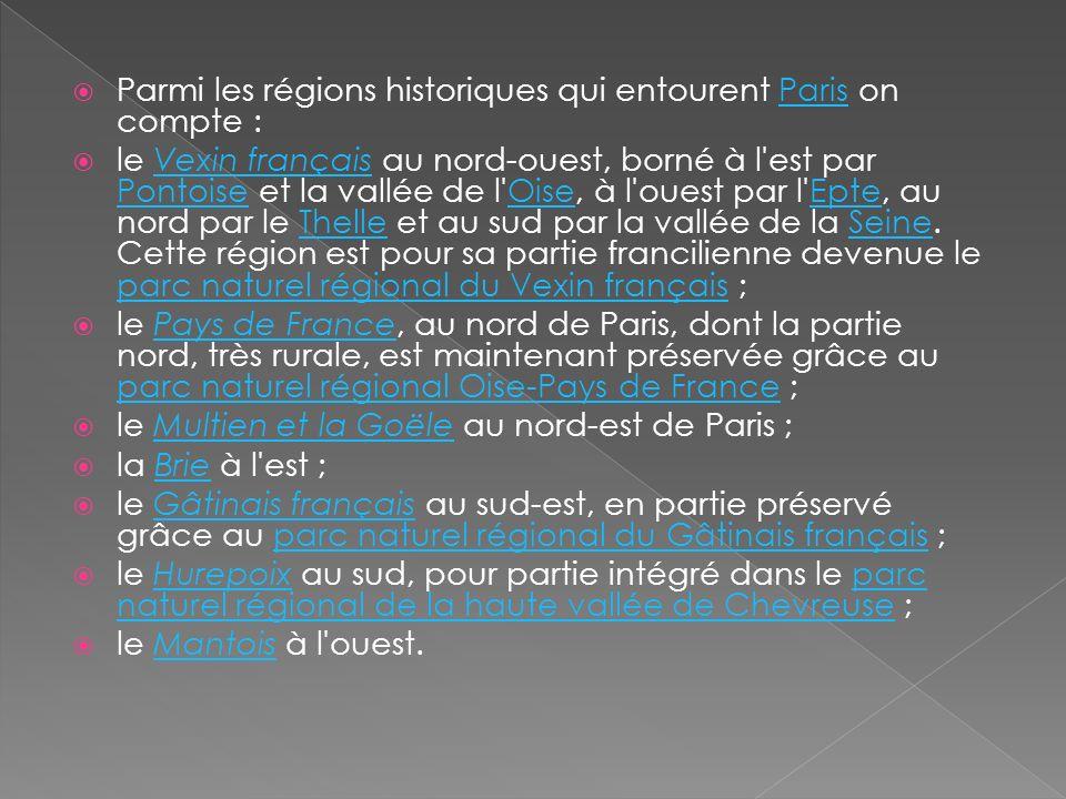 Parmi les régions historiques qui entourent Paris on compte :